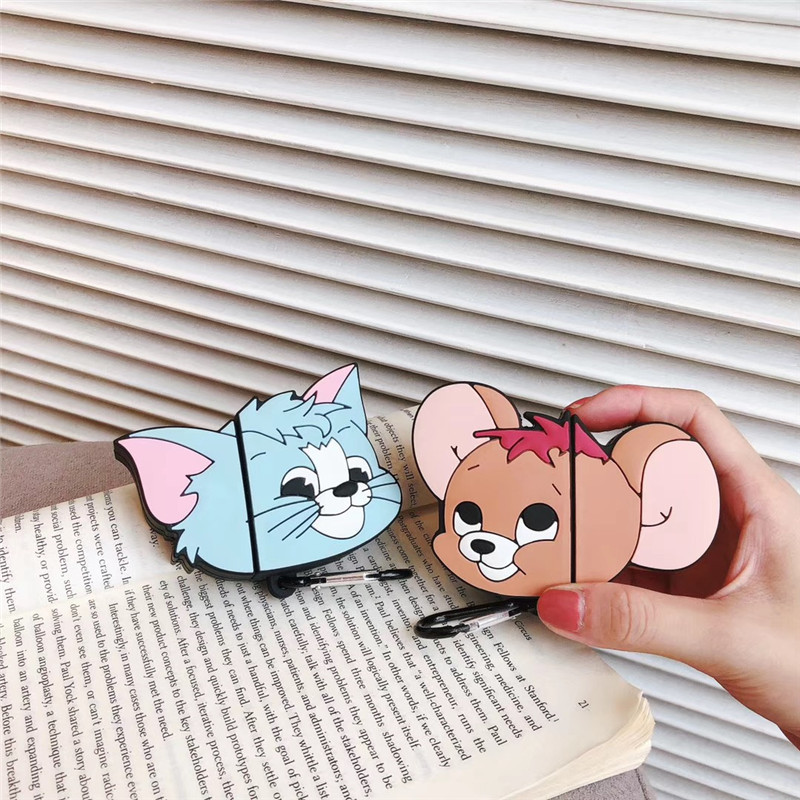 Bluetooth Earphone Case for Airpods Cute Protective Cover for Apple Airpods 2 Accessories with Keychain 3D Design Tom and Jerry in Earphone Accessories from Consumer Electronics