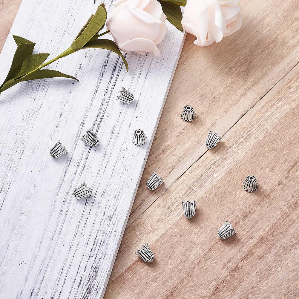 بانداهل 20 قطعة 10 مللي متر زهرة معدن فاصل الخرز قبعات نهاية كاب لصنع المجوهرات المجوهرات ثقب نمط التبتية: 1 مللي متر