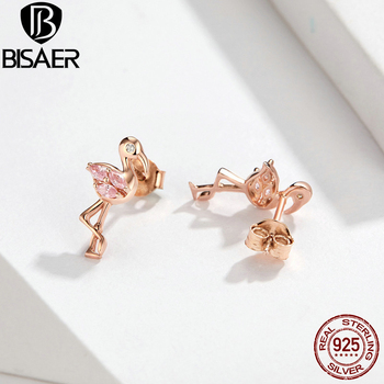 BISAER Wholesale 925 Sterling Silver Earrings Women Cartoon Mouse Animal Love Heart Sparkling Minnie Silver 925 Jewelry 2