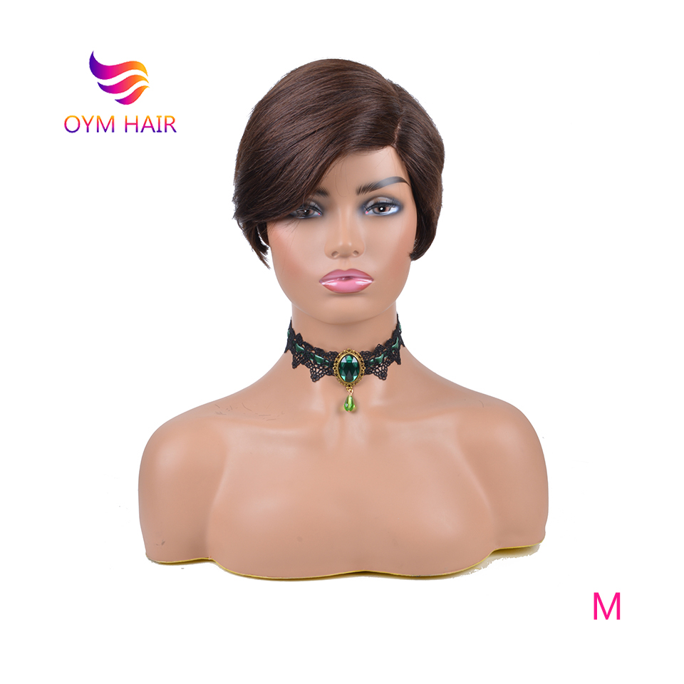 OYM HAIR Brazilian Remy Straight Hair Lace Wig Short Human Hair Wigs For Women 150% Color 1#2#4# U Part Lace Wig