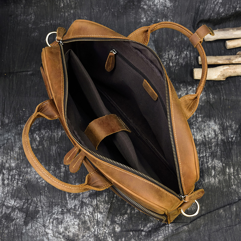 "H447fb95c0f49423b9d577b1310417af7Q MAHEU Men Briefcase Genuine Leather Laptop Bag 15.6"" PC Doctor Lawyer Computer Bag Cowhide Male Briefcase Cow Leather Men Bag"