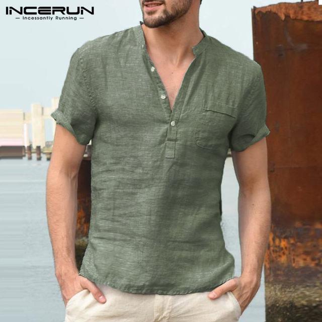 INCERUN männer Shirts Stehkragen Kurzarm Taste Casual Bluse Streetwear Lose Sommer Atmungsaktiv Männlichen Shirts Chemise 2020