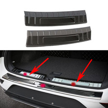 цена на Car Styling For VW T-ROC t roc troc 2018  Accessories Stainless Steel Rear Bumper Foot Plate Protector Door Sill Scuff Sticker