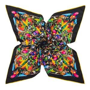 Image 2 - Châle carré en soie pour femmes, châle de marque de luxe, en sergé, grand motif doiseau, vente en gros, 2020*130, 130