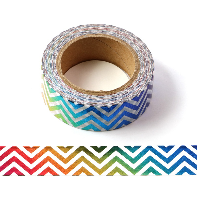 10M Decorative Foil Washi Tape Rainbow Zig Zag DIY Scrapbooking Sticker Label Japanese Masking Tape School Office Supply
