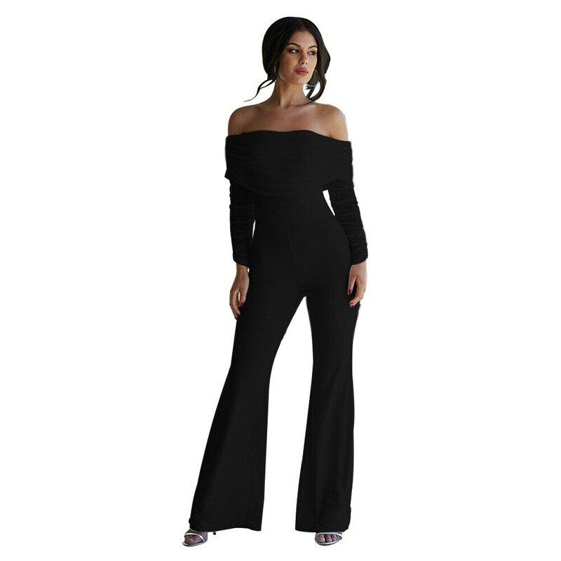 Hirigin Autumn Women Solid Playsuit Evening Party Cocktail Ladies Elegant Jumpsuit Romper Long Overall Pants