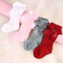 Quaslover/носки для новорожденных девочек хлопковые сетчатые Дышащие носки для малышей мягкие кружевные носки до колена с бантом для маленьких девочек