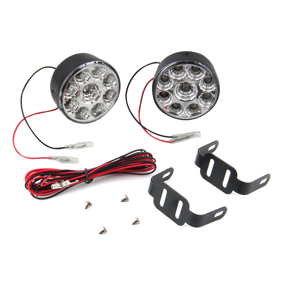 MZORANGE 2Pcs 9LEDRound Front Fog Light DRL Daytime Running Light White