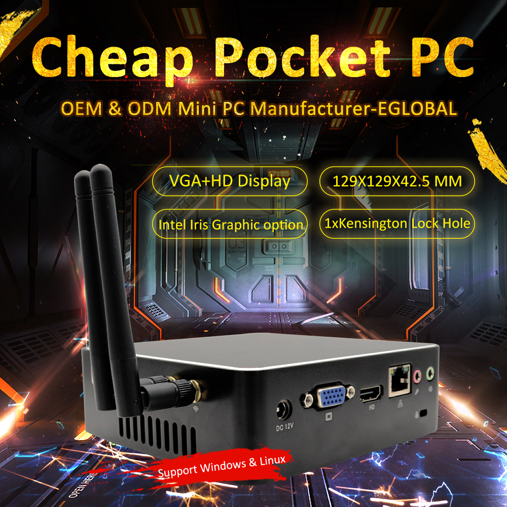 Portable Mini PC Intel Core I3 6167U I5 6260U I7 6560U Fan Mini Computer Graphics Iris Barebone NUC 4K Nettop LAN VGA HDMI WIFI