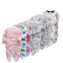 6 unidades/lote de peleles de bebé, mono de manga larga 2019 de algodón, ropa para recién nacidos, mono y ropa para niños y niñas