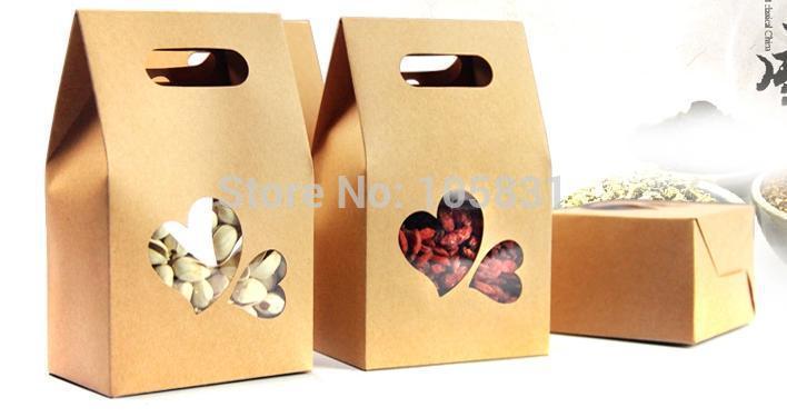50X boîte de papier kraft écologique 10*15.5cm + 6cm avec fenêtre coeur tenez les faveurs de mariage de poche de nourriture peuvent personnaliser l'impression de logo - 2