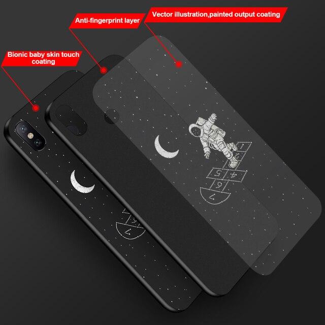 Peint En noir Pour Nokia 8 6 2018 6.1 7.1 3.1 Plus 2.1 Étui En Silicone Mat ciel Étoilé Lune Housse pour Nokia 7 9 PureView Cas