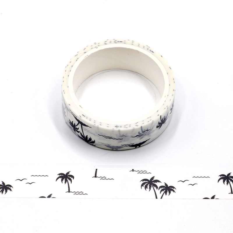 NEW 1pc Decorative Cute Palm Trees White Washi Tape DIY Scrapbooking Planner Adhesive Masking Tape Kawaii Stationery