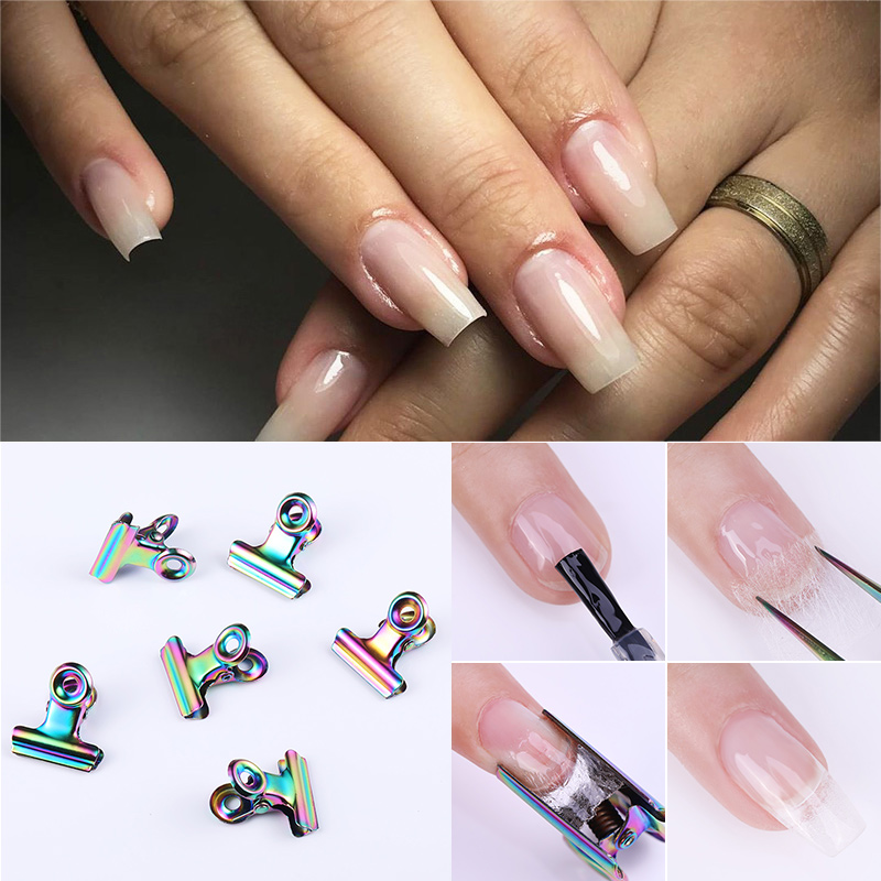 1 Pc C Curve Nail Extension Pinching Tool For Nails Tips Extended Stainless Steel Nail Finger Clips Nail Art Extend Tools