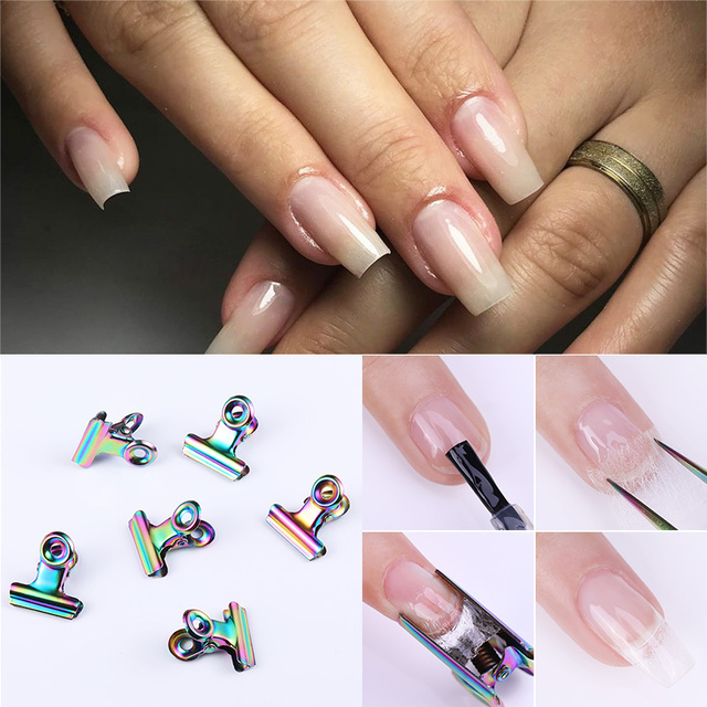 6 Pcs C Curve Nail Pinching for Nails Tips Extended Nail Accessories Stainless Steel Acrylic Nail Art Finger Clips Nail DIY Tool