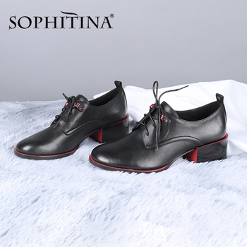 SOPHITINA Office Women s Flats High Quality Cow Leather Contrast Color Lace-Up Cross-Tied Comfortable Shoes Concise MC663