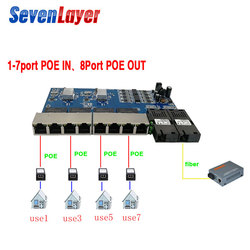 Reverse POE switch 8 RJ45 2 SC fiber Gigabit Ethernet switch media converter Fiber Optical UTP Port 10/100/1000M PCBA