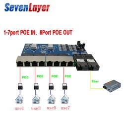 Reverse switch POE 8 RJ45 2 switch Gigabit Ethernet conversor de mídia de fibra SC Fibra Óptica UTP Port 10/100 /1000 M PCBA
