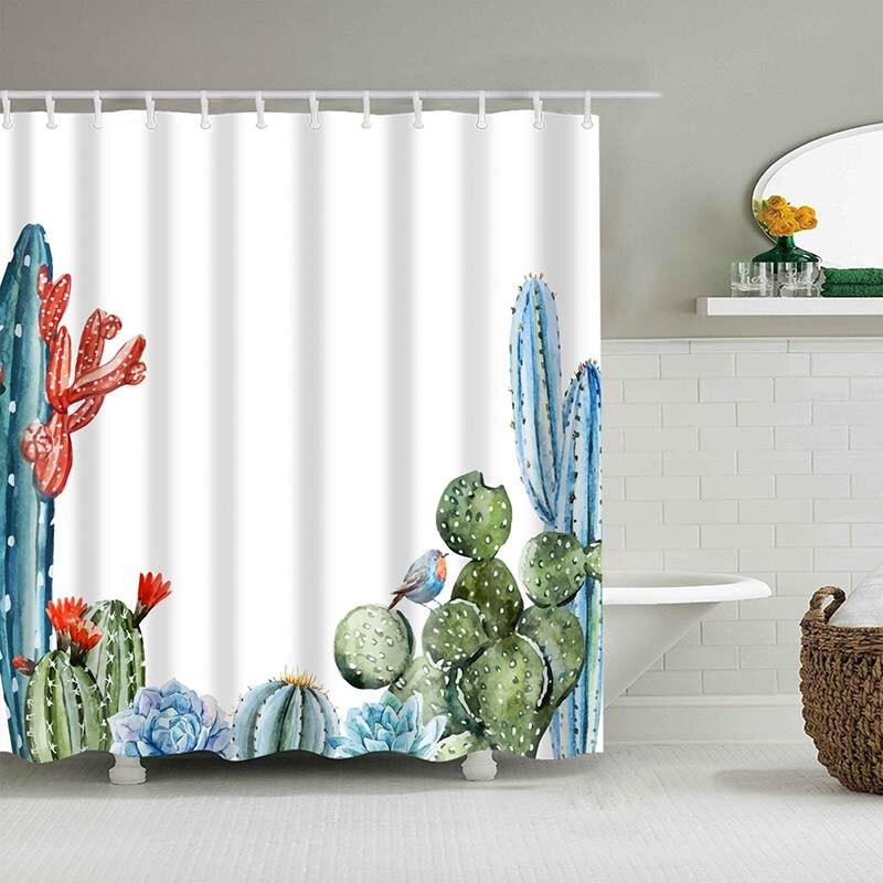 Тропический кактус, занавеска для душа, полиэфирная ткань, занавеска для ванной комнаты, украшения для ванной комнаты, мульти-размер, занавеска для душа с принтом s - Цвет: 22