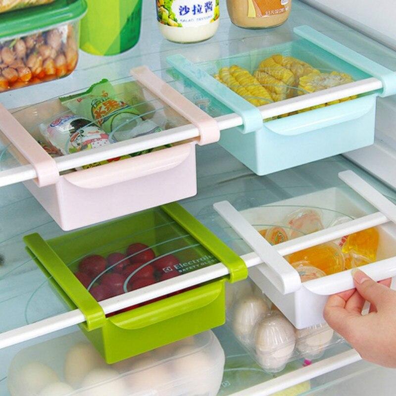 لوازم المطبخ الثلاجة تخزين الرف درج التقسيم الإطار البلاستيك الجرف رف مقصورة تخزين متعدد الوظائف LB1085