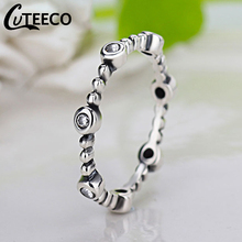 Cuteeco 2019 Hots Silver Pan Finger Ring Radiant Clear CZ Ring For Women Mother Gift Jewelry cuteeco hight quality silver color 22 styles stackable pan finger ring for women original ring engagement jewelry gifts