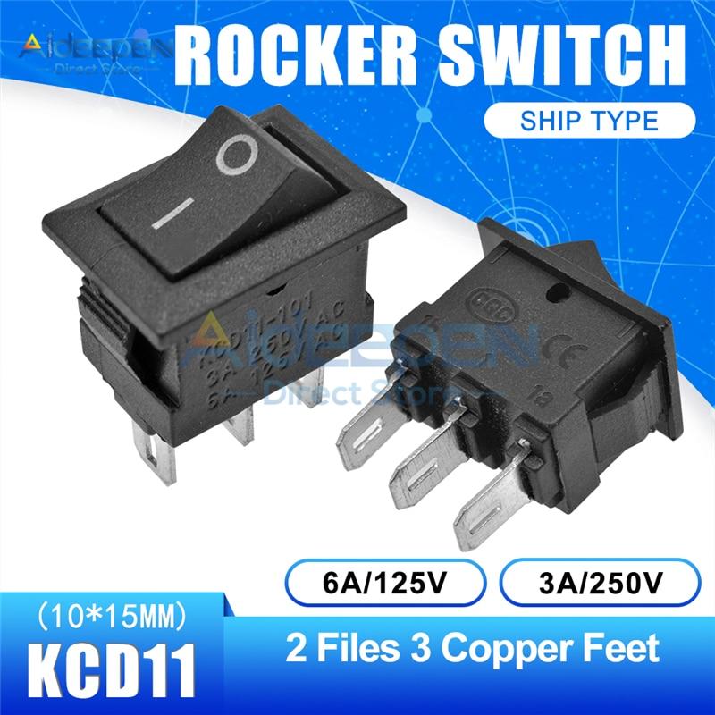 KCD11 10x15 мм кнопочный переключатель оснастка ВКЛ-ВЫКЛ 2 файла 3 файла 2/3 медные ножки лодка кулисный переключатель 10 мм* 15 мм 6A/125 В 3A/250 В - Цвет: Black 2-3P Straight