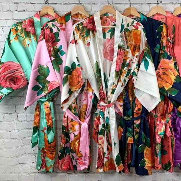 Women Silk Satin Floral Robe Bridesmaid Robes Wedding Bridal Bridesmaid Robes