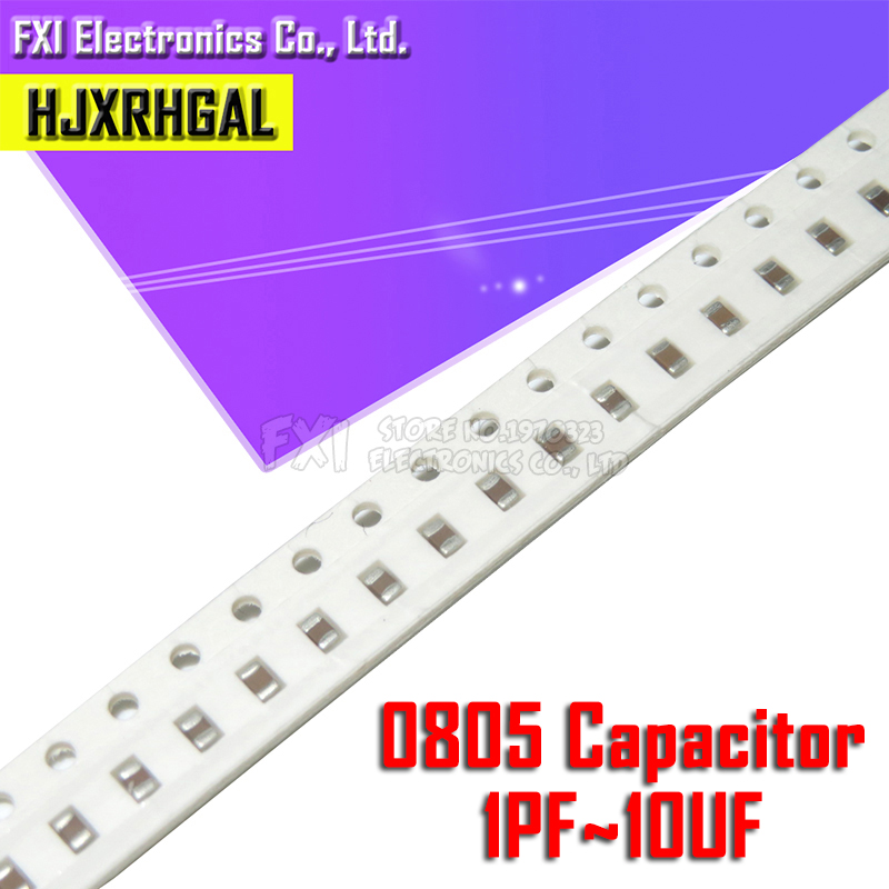100pcs 0805 50V SMD Thick Film Hjxrhgal Chip Multilayer Ceramic Capacitor 0.5pF-47uF 10NF 100NF 1UF 2.2UF 4.7UF 10UF 1PF 6PF