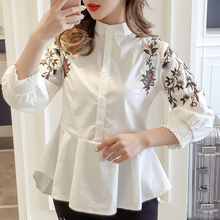 Blouse women 2019 ladies tops white shirts for button stand Embroidery Floral Seven points sleeve blusas harajuku 0323