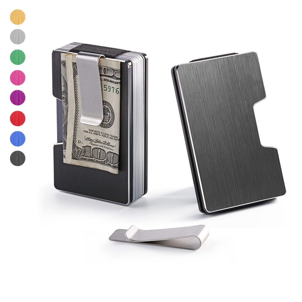 Wallet Purse Card-Holder Cash Money Rfid-Blocking Credit Aluminum-Alloy Slim Men title=