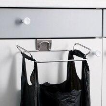 Stainless Steel Garbage Hanging Bag Kitchen Trash Storage Rack Bag Hook Scouring Pad Dry Shelf Holder Kitchen Organizier