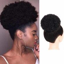 Hairpiece Ponytail Chignon Short Halo Human-Hair-Bun Afro-Puff Kinky-Curly-Clip Drawstring