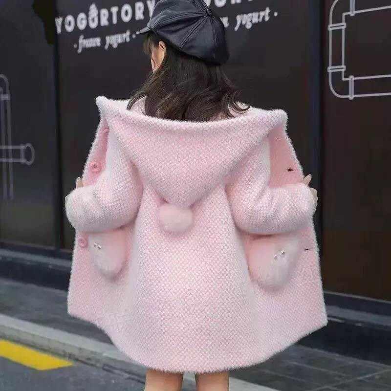 Menina inverno camisola inverno meninas algodão criança outerwear roupas da criança crianças roupas casuais turn-down colarinho xadrez casaco de lã