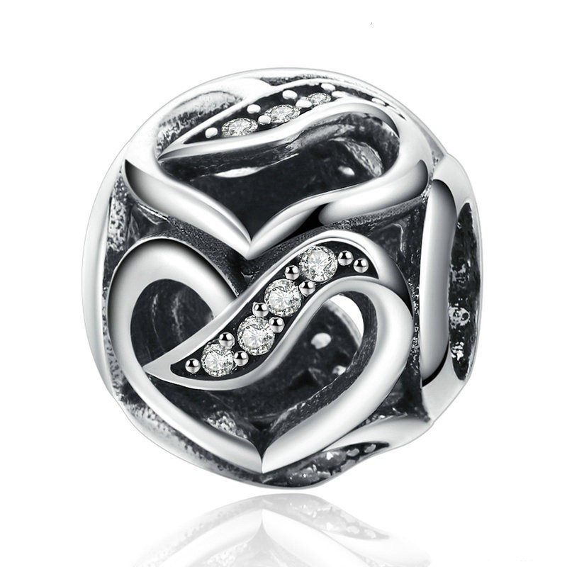 Authentic 925 Sterling Silver Ribbons of Love Charm Clear CZ Heart Bead fit Pandora European Beads Charms  Bracelets Jewelry