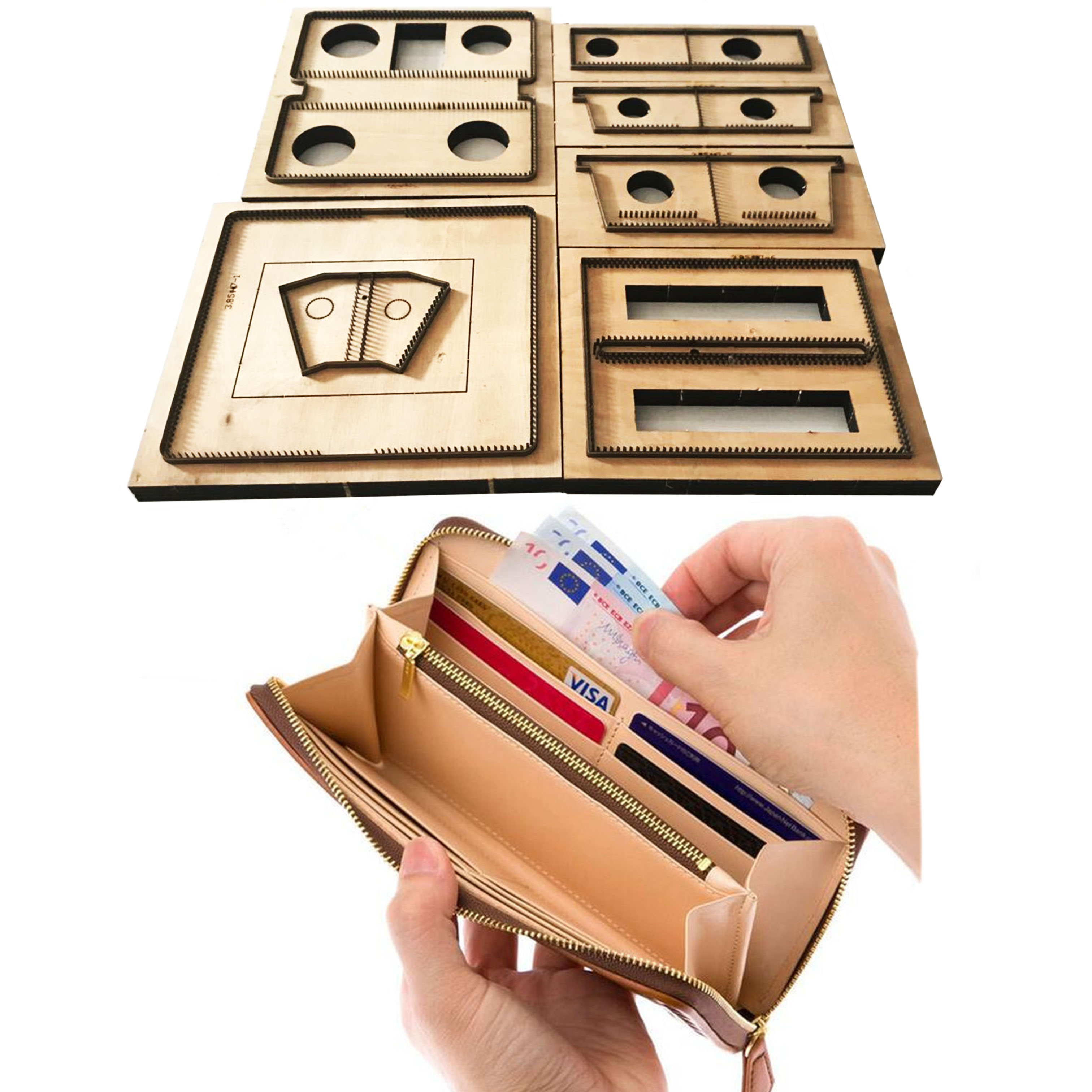 New Japan Steel Blade Wooden Die Long Style Handbag Wallet Leather Craft Punch Hand Tool Cut Knife Mould Sewing Accessories