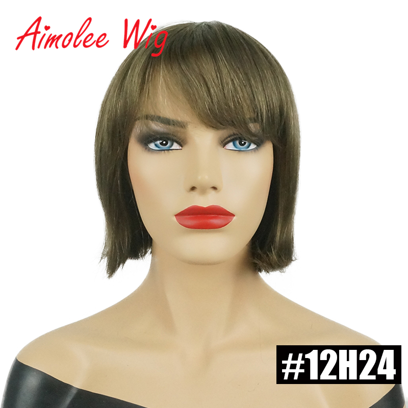 Aimolee Short Straight Bob Style Wigs with Bangs Brown Black Blonde Highlights Human Hair Blend Synthetic Wigs for Women