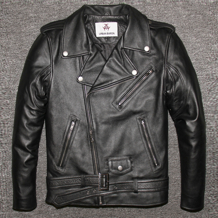 Factory 2020 New Men's Genuine Leather Motorcycle Jacket Male Cowskin Oblique Zipper Punk Rock Bomber Motorcycle Biker Coats