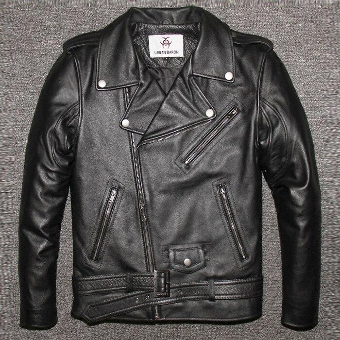 Factory 2020 New Men's Genuine Leather Motorcycle Jacket Male Cowskin Oblique Zipper Punk Rock Bomber Motorcycle Biker Coats