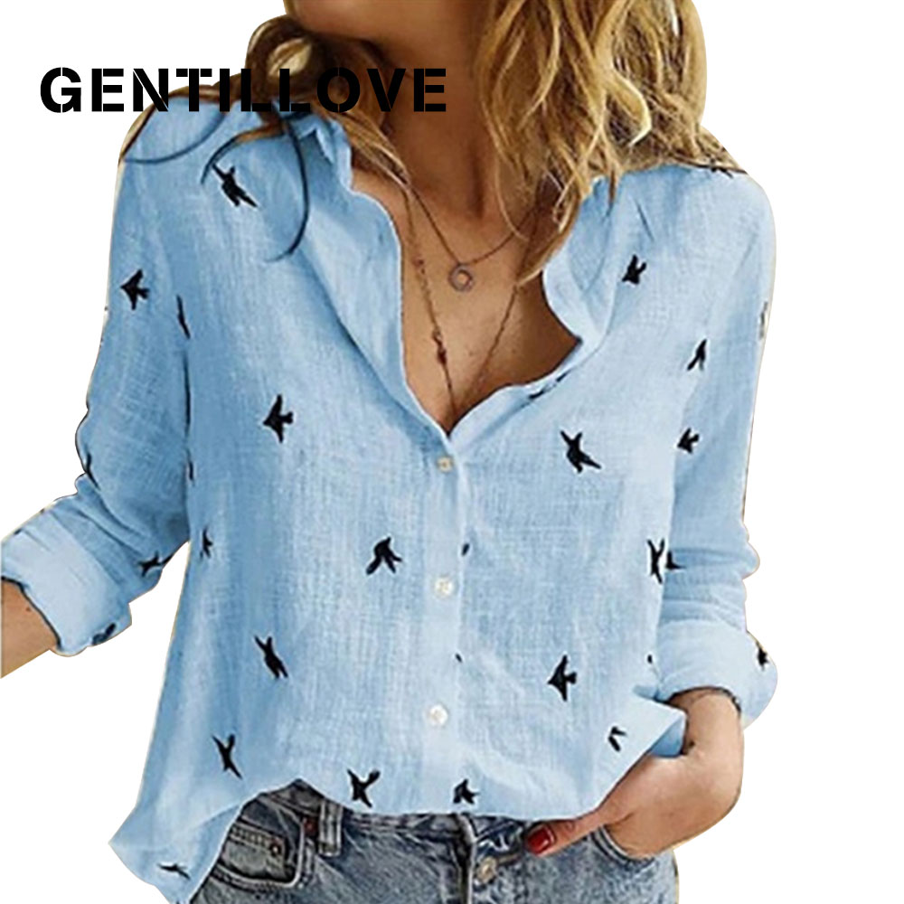 Casual Long Sleeve Birds Print Loose Shirts Women Cotton And Linen Blouses And Tops Vintage Streetwear Plus Size 5XL Tunic