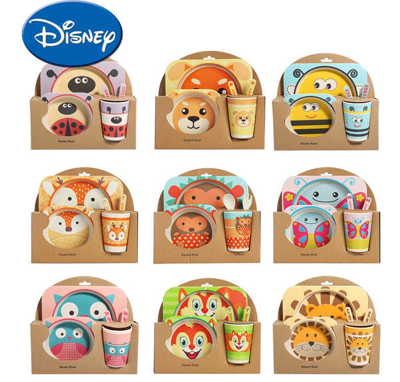 Disney Crianças De Fibra De Bambu Conjunto Talheres Bebê Separar Pratos Bonitos Dos Desenhos Animados Infantil Alimentos Alimentação Tigela Para O Presente
