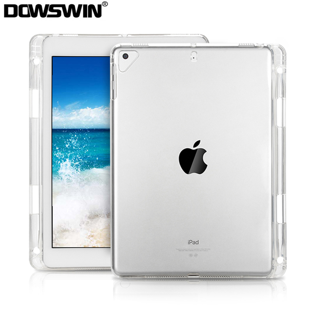 Case For IPad 9.7 2018 2017 Transparent Soft Silicon Cover For 6th Generation For IPad Pro 9.7 Air 1 2 Case With Pencil Holder
