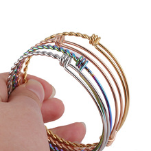 2020 New Rose Gold Rainbow Twist Bangles & Bracelets  Stainless Steel Wire Adjustable DIY Handmade Jewelry Accessory