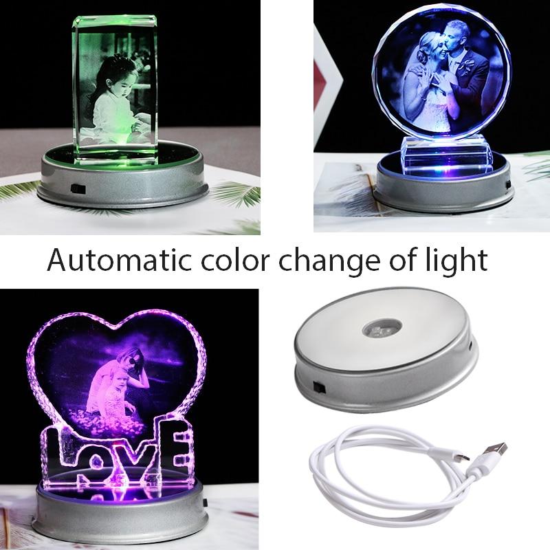 Image 4 - Customized Crystal Photo Frame Colorful LED Base Laser Engraved  Picture Souvenir Gift Personalized Glass Wedding Photo FrameFrame   -