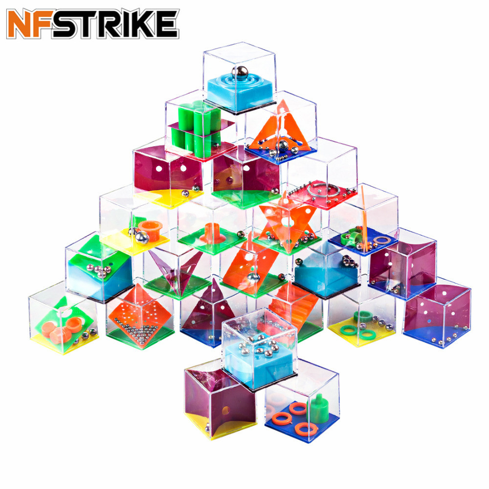 NFSTRIKE 24Pcs Maze Game Puzzle Boxes with Steel Ball Brain Teaser Educational Toys Gift Puzzles Toys for Kids Children Adults