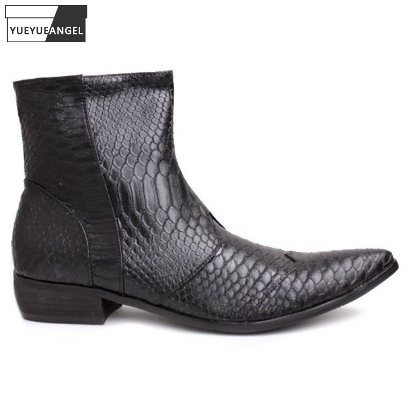 Mens Genuine Leather Shoes Fashion Snake Pattern Pointed Toe Chelsea Boots Designer Luxury Black White Ankle Boots Large Size 46