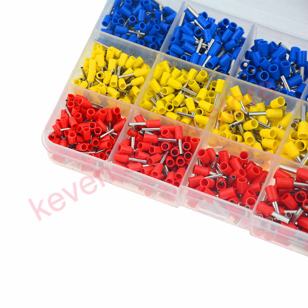 1000pcs Cable Wire Terminal Connector with Hand Ferrule Crimper Plier Crimp Tool Kit Set AWG10-23