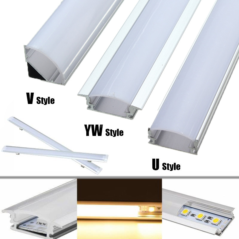 LED Bar Lights 30/50cm Aluminum Channel Holder Milk Cover End Up Lighting Accessories U/V/YW-Style Shaped For LED Strip Light