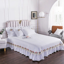 Luxury White Cotton Lace Design Quilting Blanket Bedspread Bed Sheet Bed Cover Pillowcases Full Queen King Size #/