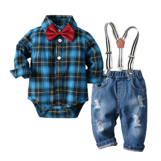 Newborn Baby Boy Denim Clothes Cotton Plaid Rompers Gentleman Bib Jeans Clothing Suit Outfit 6   24M