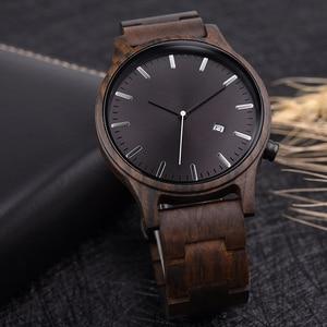 Image 4 - DODO Reloj de madera con indicador de fecha para hombre, reloj masculino de madera, con caja de regalo